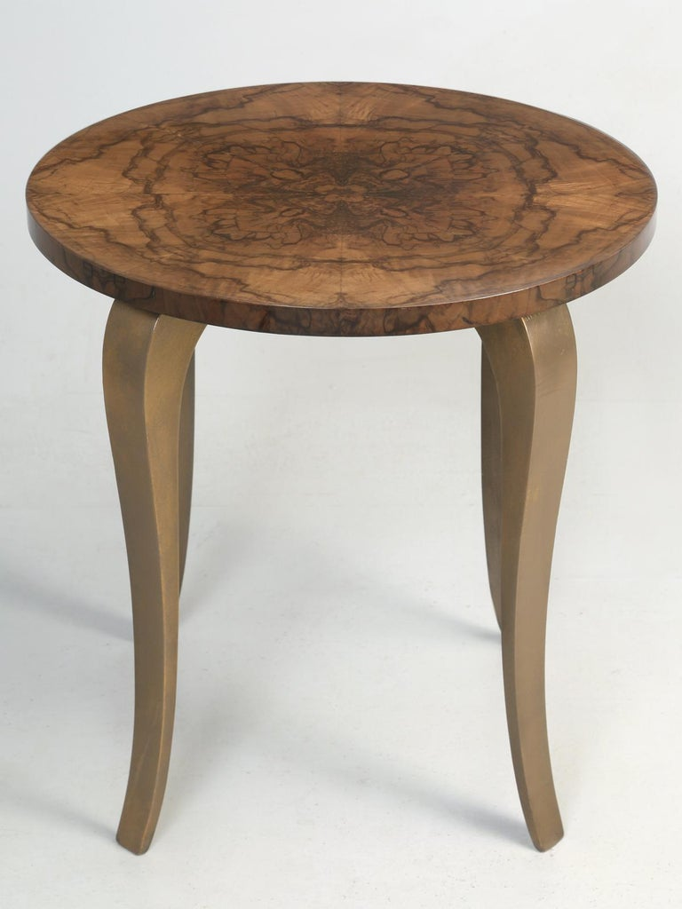 French circa 1930s-1940s, burl walnut end table, or side table if you prefer. During the restoration process, we French polished the burl walnut top, to a high gloss finish, in order to bring out, the incredible grain of the walnut end tabletop and