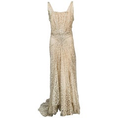French 1930' Ivory Lace Bias Cut Evening Gown and Chiffon Slip by Bialo, Paris
