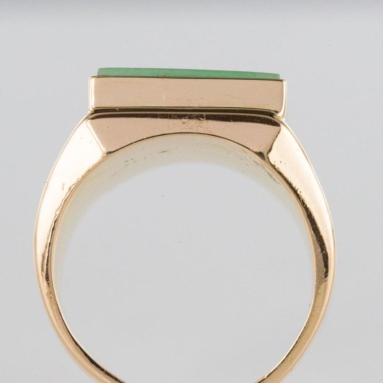 French 1930s 12 Carat Jade 18 Karat Yellow Gold Men's Signet Ring For Sale 6