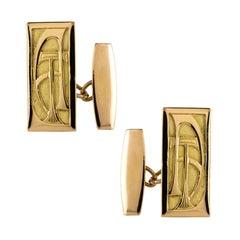 French 1930s 18 Karat Yellow Gold Art Deco Cufflinks
