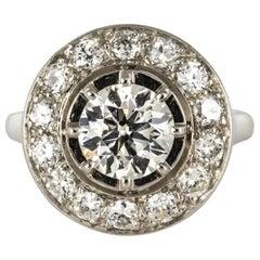 French 1930s Art Deco 1.62 Carat Diamonds Round Platinum Engagement Ring