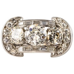French 1930s Art Deco 5.10 Carat 18 Karat Diamond White Gold Platinum Ring