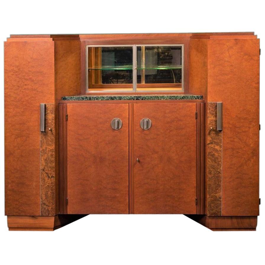 French 1930s Art Deco Amboyna and Walnut Burl Wood Cabinet