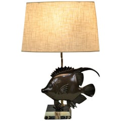 French 1930s Art Deco Bronze Fish Table Lamp