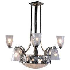 French 1930s Art Deco Chandelier by Degue