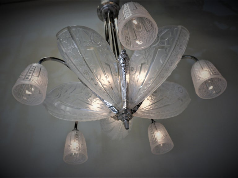 French 1930s Art Deco Chandelier by Donna Paris In Good Condition For Sale In Fairfax, VA