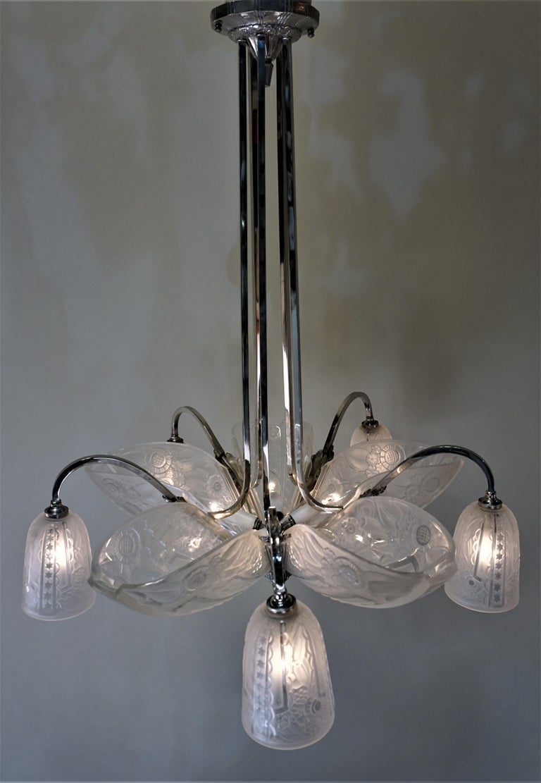 Glass French 1930s Art Deco Chandelier by Donna Paris For Sale