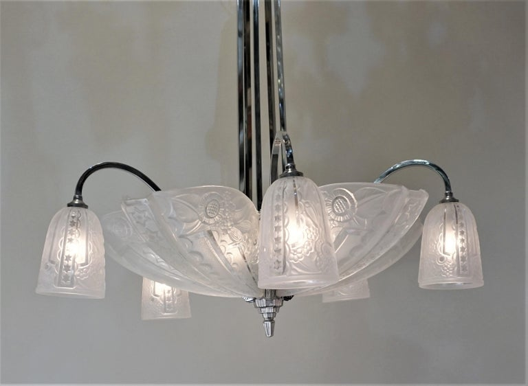 French 1930s Art Deco Chandelier by Donna Paris For Sale 1