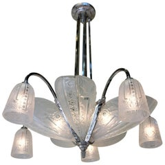 French 1930s Art Deco Chandelier by Donna Paris