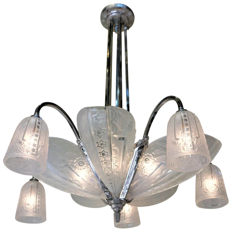 French 1930s Art Deco Chandelier by Donna Paris For Sale