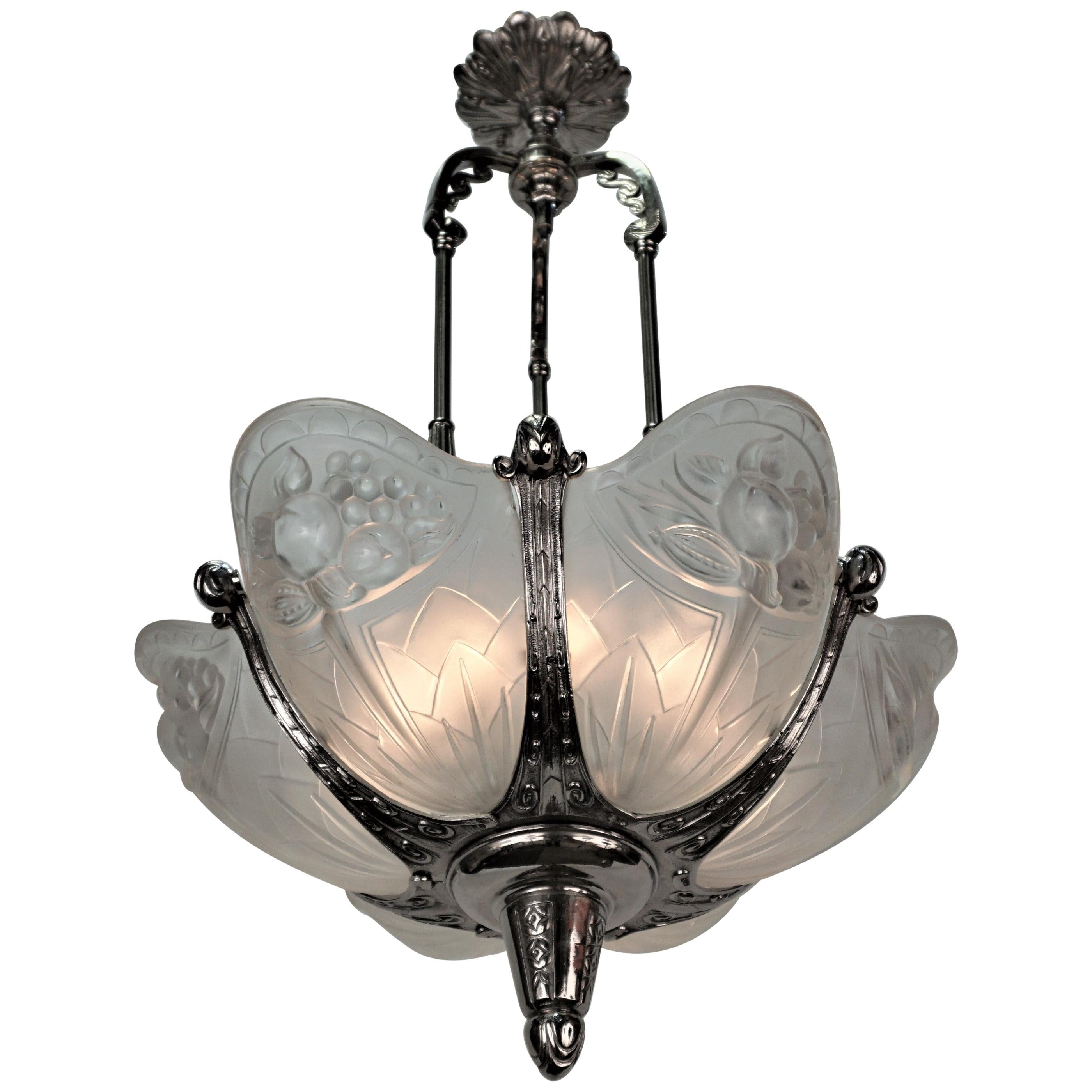 French 1930's Art Deco Chandelier by P. Gilles