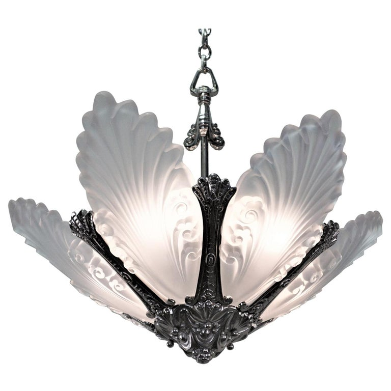 French 1930s Art Deco Chandelier For Sale
