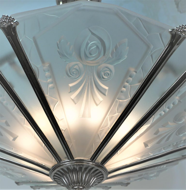 French 1930's Art Deco Chandelier Nickel and Glass In Good Condition For Sale In Fairfax, VA
