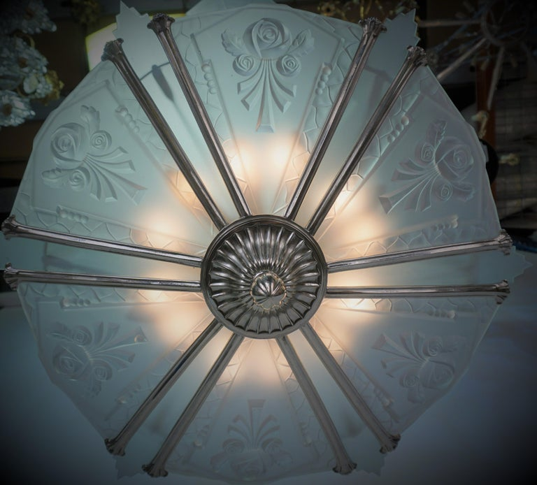 Mid-20th Century French 1930's Art Deco Chandelier Nickel and Glass For Sale