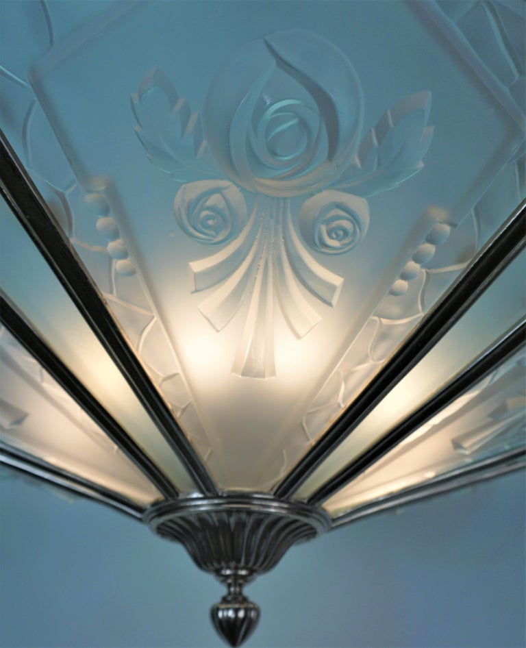 French 1930's Art Deco Chandelier Nickel and Glass For Sale 2