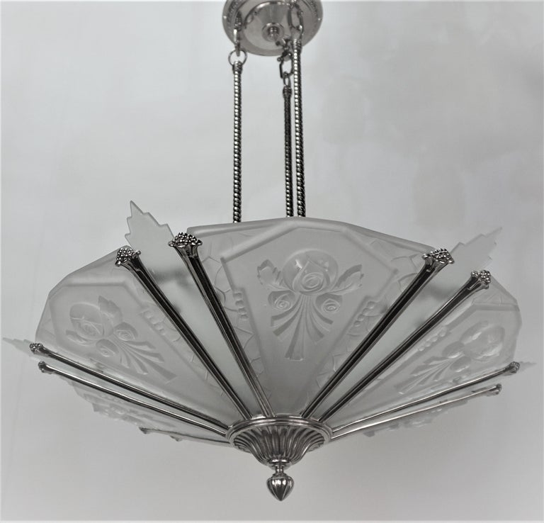French 1930's Art Deco Chandelier Nickel and Glass For Sale 5