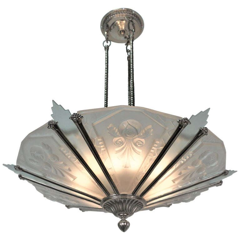 French 1930's Art Deco Chandelier Nickel and Glass For Sale