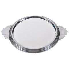 French 1930s Art Deco Circular Mirrored Tray