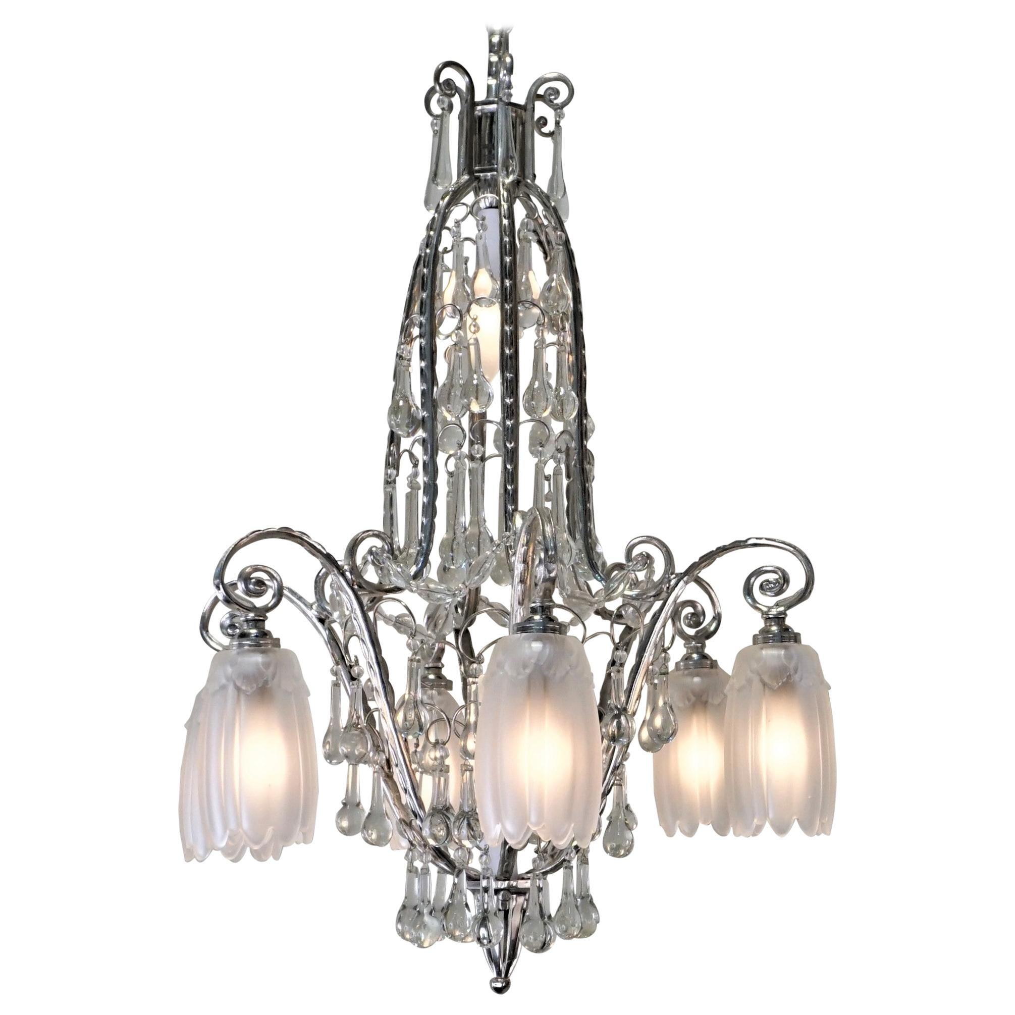 French 1930s Art Deco Crystal and Nickel Chandelier