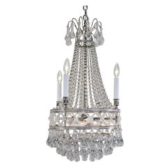 French 1930s Art Deco Crystal Chandelier