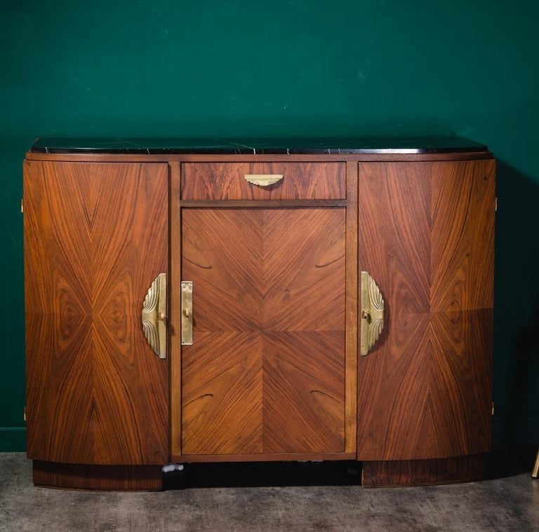 French Art Deco 1930s design sideboard in walnut wooden marquetry with brass finishes and black marble tray ; amazing French workmanship, noble materials ( wood structure and brass finish) 3 doors panel, full of charm and character, harmonious and