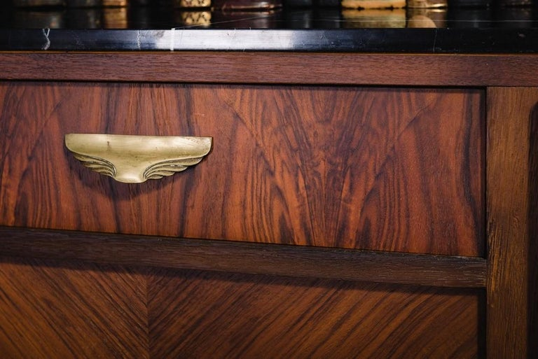 French 1930s Art Deco Design Black Marble Walnut Wooden and Brass Sideboard For Sale 1