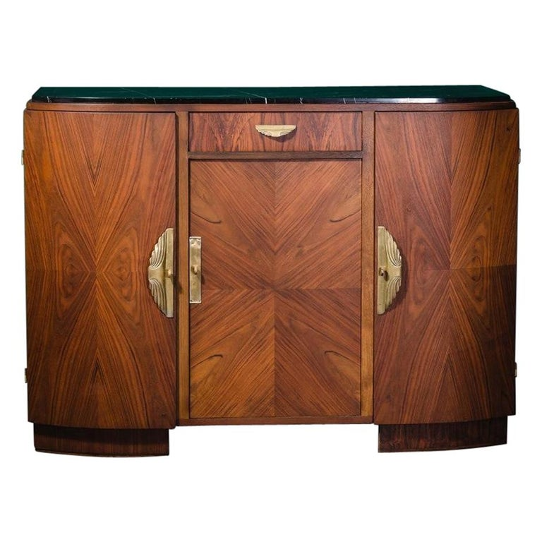 French 1930s Art Deco Design Black Marble Walnut Wooden and Brass Sideboard For Sale