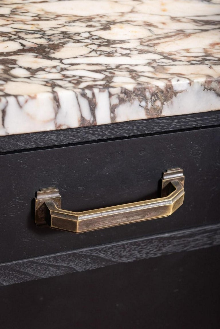 Mid-20th Century French 1930s Art Deco Design White Marble and Black Wooden Sideboard For Sale