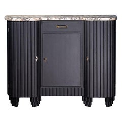 French 1930s Art Deco Design White Marble and Black Wooden Sideboard