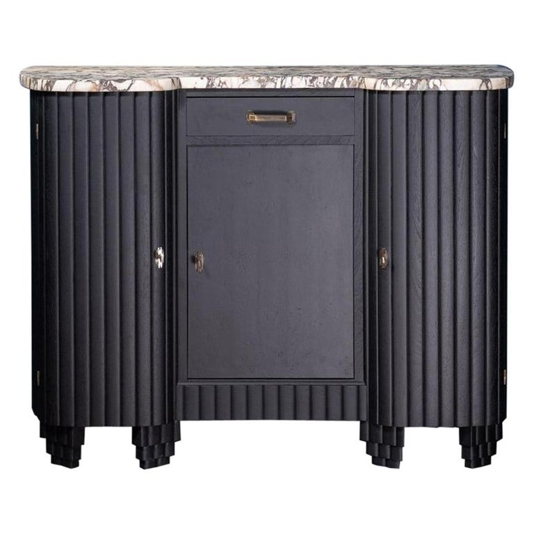 French 1930s Art Deco Design White Marble and Black Wooden Sideboard For Sale