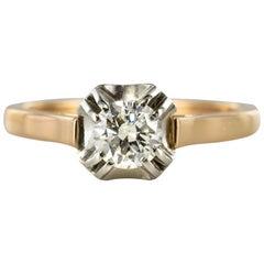 French 1930s Art Deco Diamond 18 Karat Rose Gold Platinum Solitary Ring