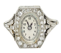 French 1930's Art Deco Diamond Platinum Watch Ring