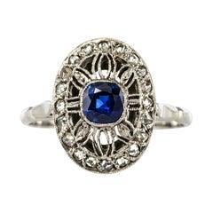 French 1930s Art Deco Diamond Sapphires Platinum Ring