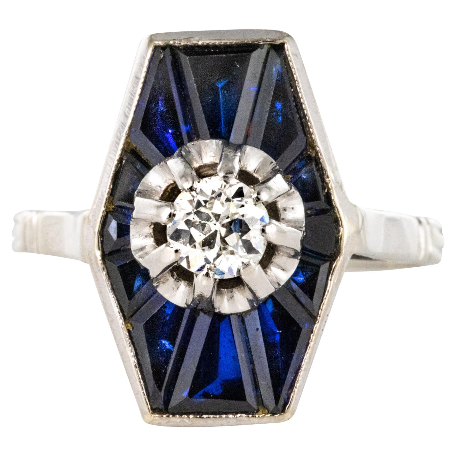 French 1930s Art Deco Diamond Sapphires Platinum White Gold Ring