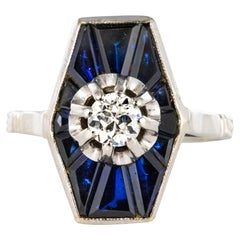 French 1930s Art Deco Diamond Sapphires Platinum White Gold Ring