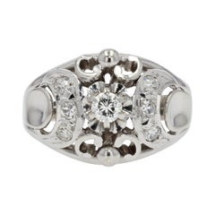 French 1930s Art Deco Diamonds 18 Karat White Gold Dome Ring