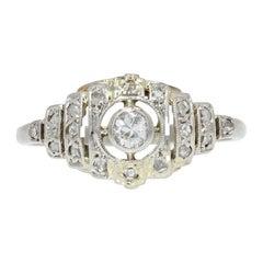 French 1930s Art Deco Diamonds 18 Karat White Gold Ring