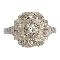 French 1930s Art Deco Diamonds Platinum Ring