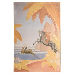 French 1930s Art Deco Hunting Scene Oil on Canvas Painting