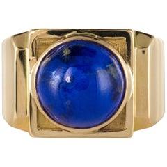 French 1930s Art Deco Lapis Lazuli 18 Karat Yellow Gold Signet Ring