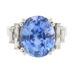 French 1930s Art Deco Natural Sapphire Baguette Diamond Platinum Ring