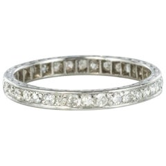 French 1930s Art deco Platinum Diamond Wedding Band Ring