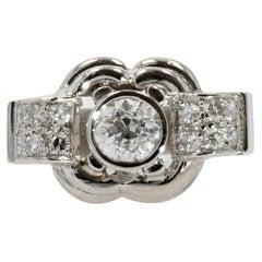 French 1930s Art Deco Platinum Diamonds Ring