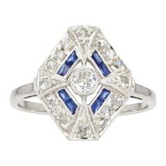 French 1930s Art Deco Sapphire Diamonds Hexagonal Ring