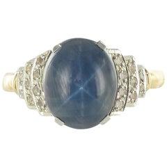 French 1930s Art Deco Star Sapphire Diamonds 18 Karat Yellow Gold Ring