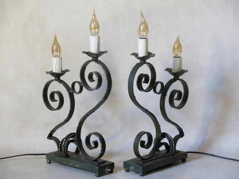 Painted French 1930s Art Deco Table Lamps For Sale
