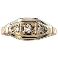 French 1930s Art Deco Trio Diamond 18 Karat Yellow White Gold Ring