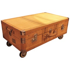 French 1930s Beige Striped Canvas Cabin Trunk as Coffee Table