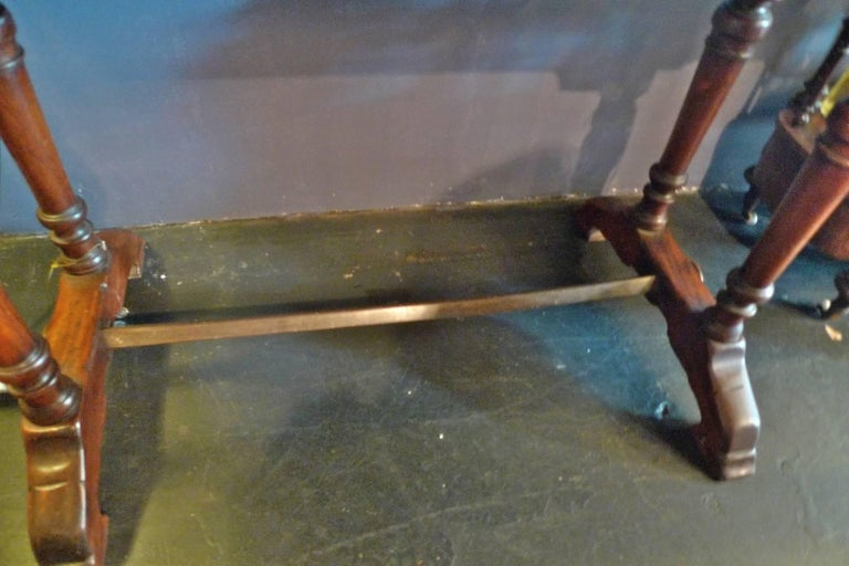 Wrought Iron French 1930s Bistro Table on Walnut and Iron Frame with Red Marble Top For Sale