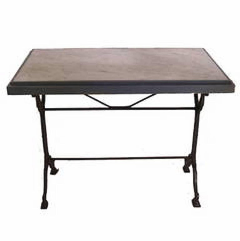 French 1930s Bistro Table on Walnut and Iron Frame with Red Marble Top For Sale 1